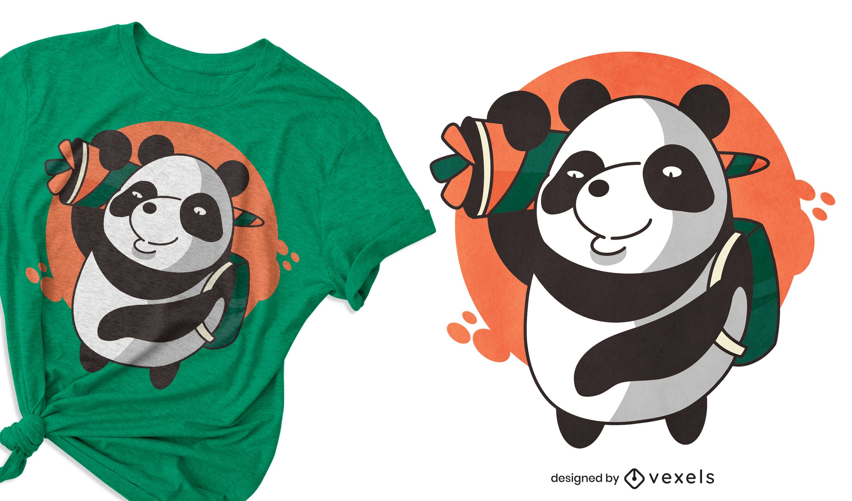Panda school t-shirt design