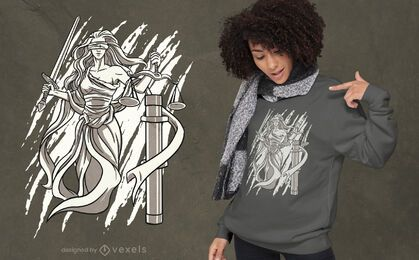 Design de camiseta preta e branca Lady Justice