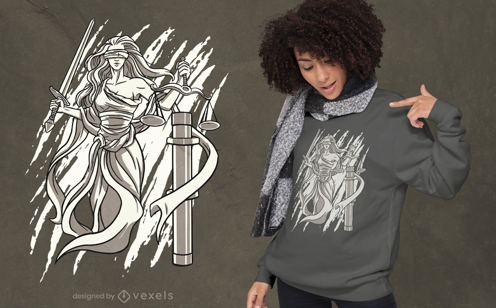 Lady Justice black and white t-shirt design