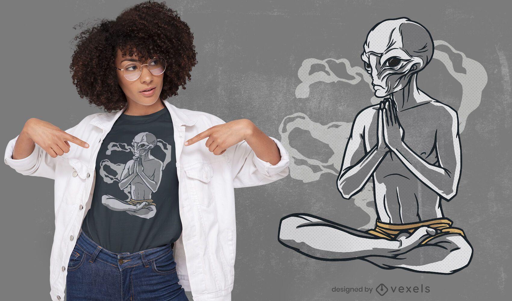 Design de t-shirt alienígena para ioga