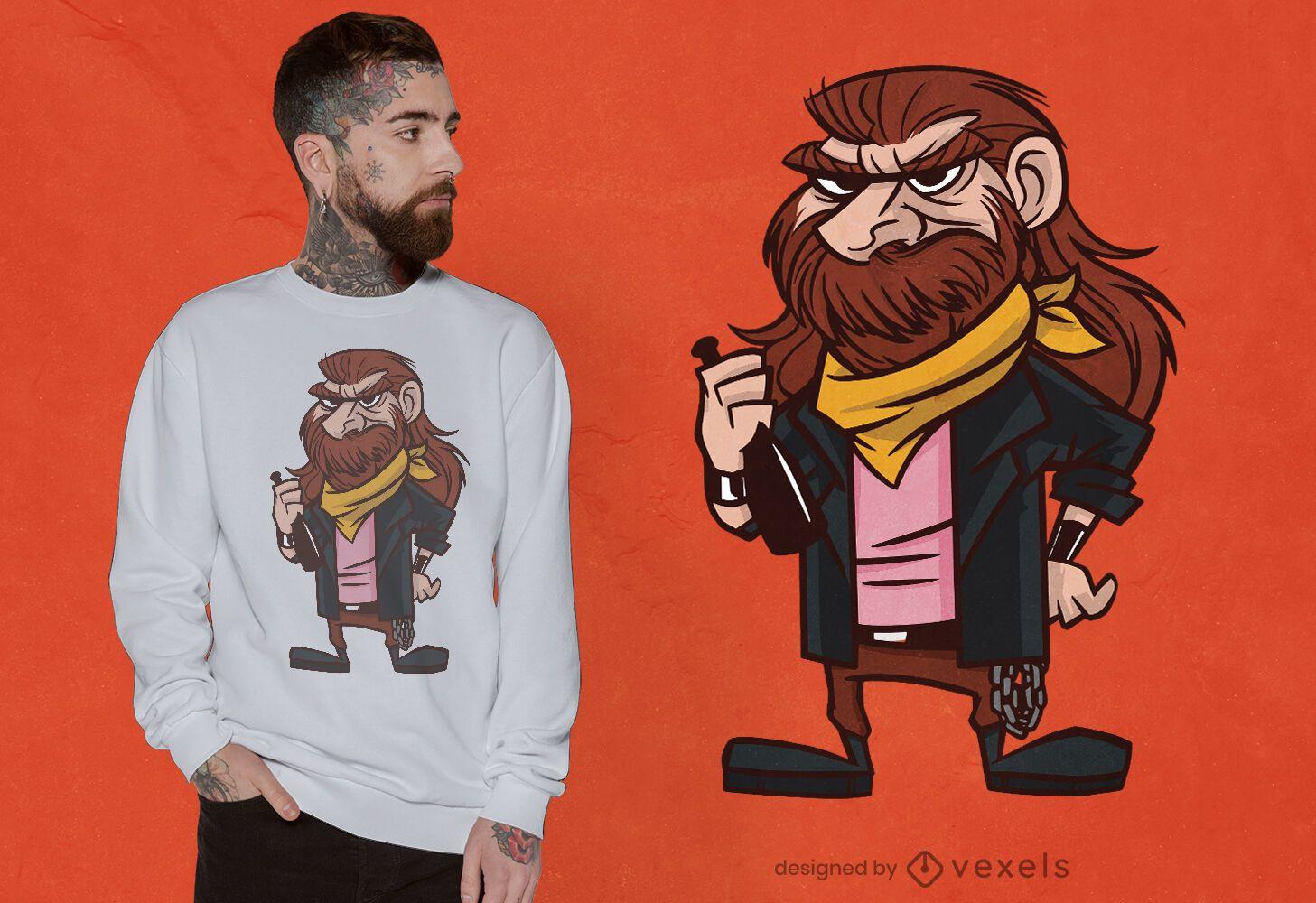 Heavy metal cartoon guy t-shirt design