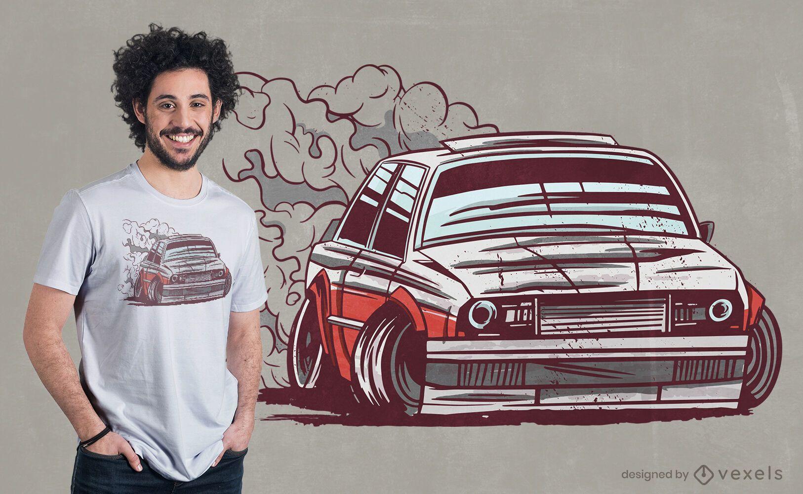 Diseño de camiseta a la deriva de automovilismo.