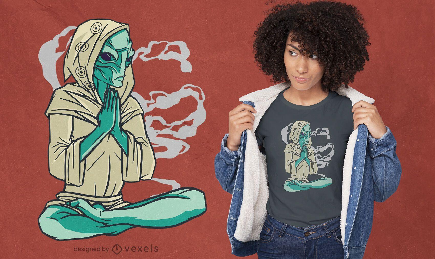Diseño de camiseta de pose de yoga alienígena meditando