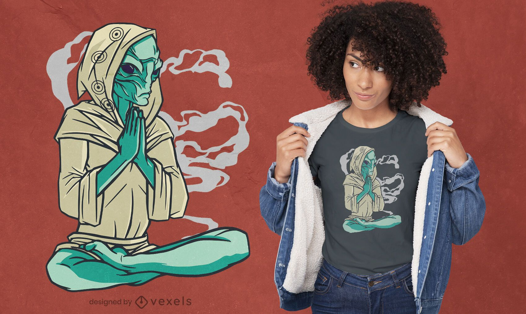 Meditating alien yoga pose t-shirt design