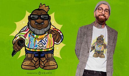 Design de camiseta de personagem rapper gnome