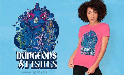 Diseño de camiseta de mazmorras y peces.