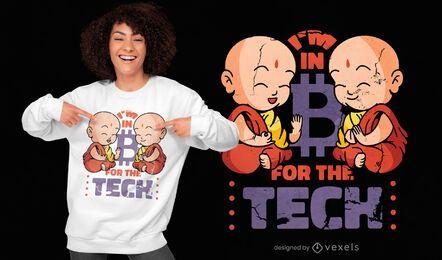 Monk bitcoin tech quote t-shirt design