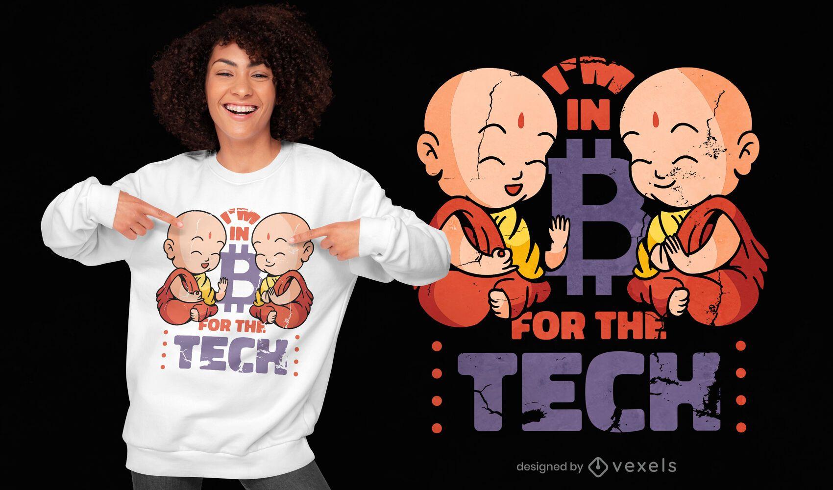 Design de t-shirt com citações de tecnologia bitcoin Monk