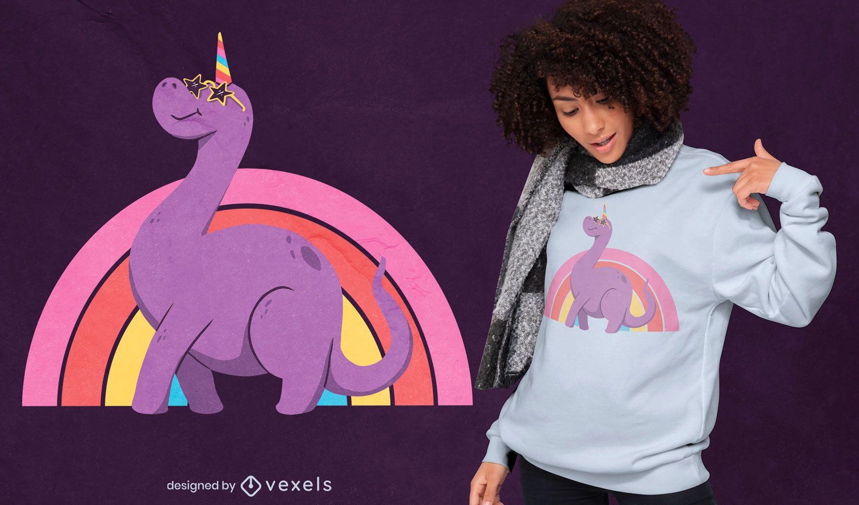 Design de camiseta com mistura de unicórnio dinossauro