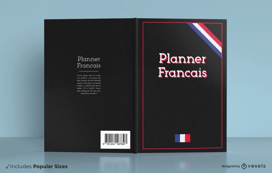 French planner book cover design