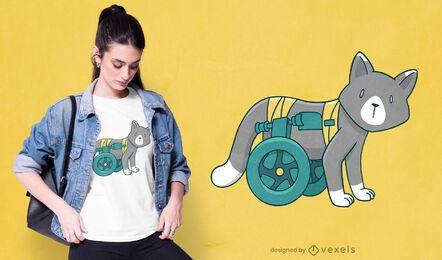 Diseño de camiseta de gato discapacitado.