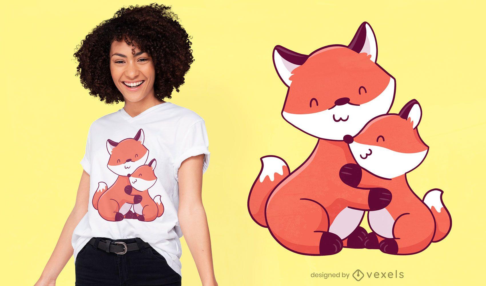 Süßes Karikatur-T-Shirt-Design der Fuchsfamilie