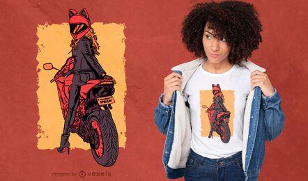 Diseño de camiseta de motociclista mujer gato casco