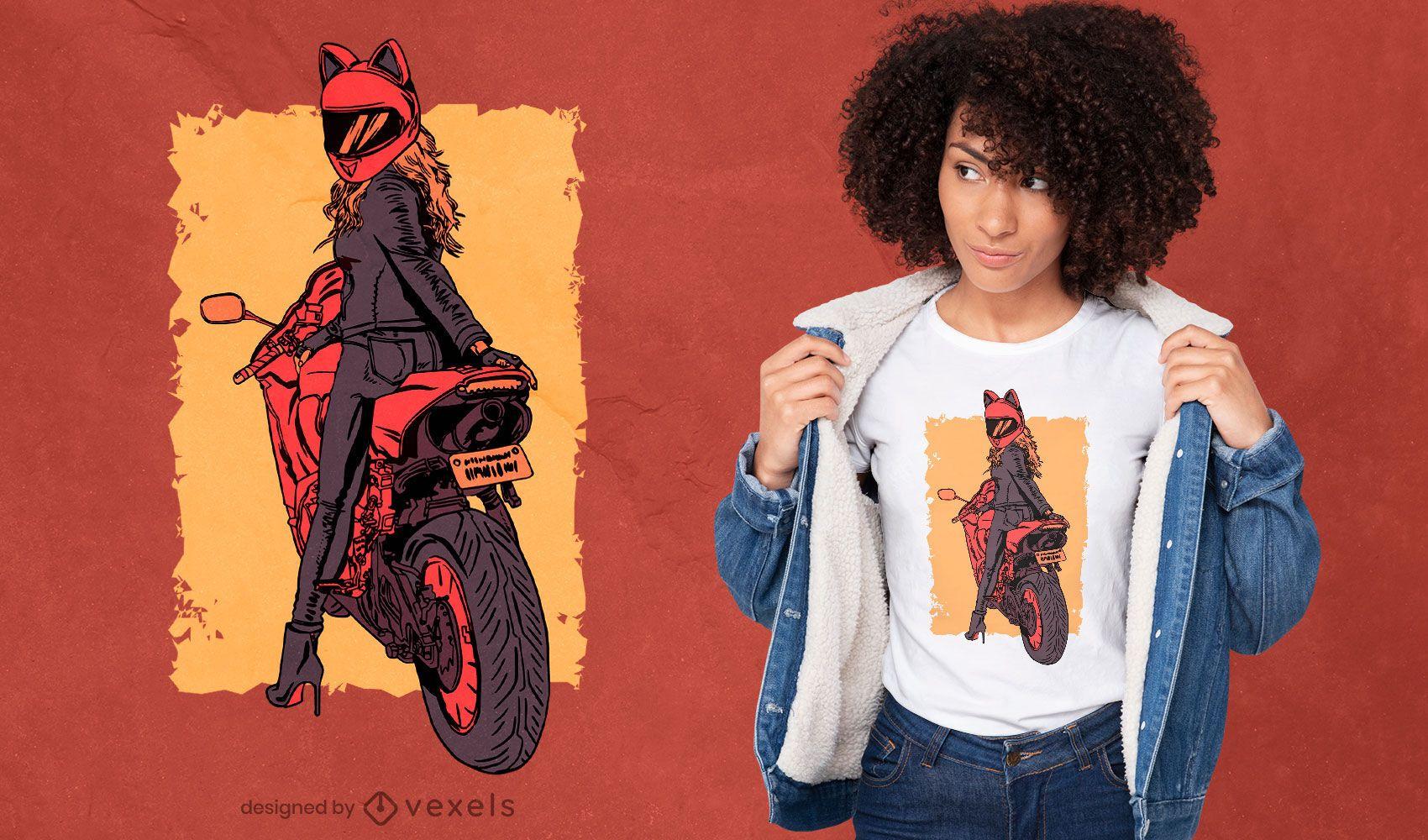 Biker woman cat helmet t-shirt design