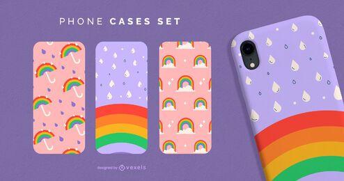 Conjunto de caja de teléfono arcoíris