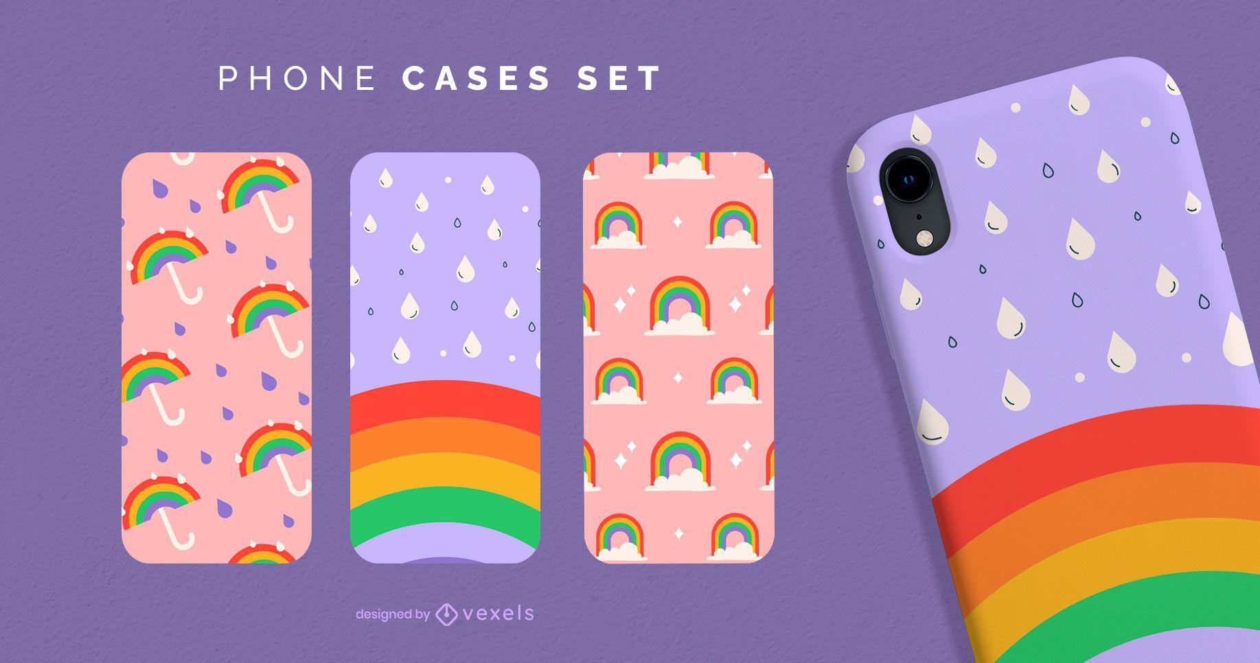Conjunto de capa de telefone Rainbow