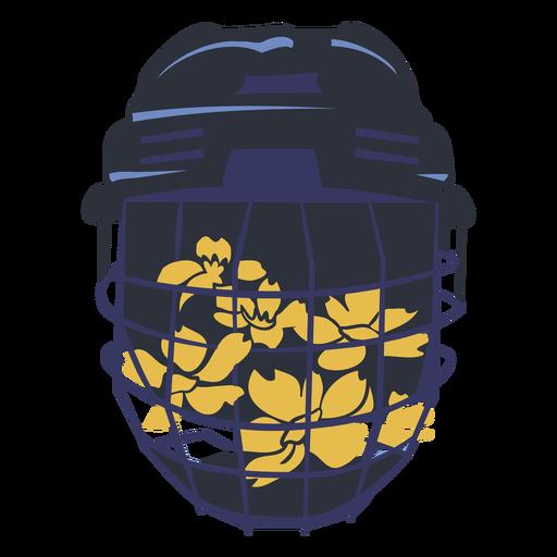 Ice hockey helmet with flowers flat