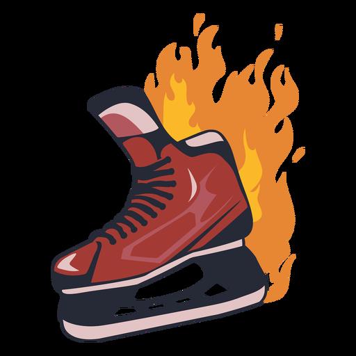 Ice hockey skate on fire semi flat