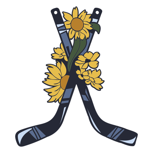 Ice hockey sticks with flowers color stroke