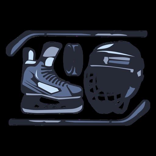 Ice hockey sticks and elements illustration