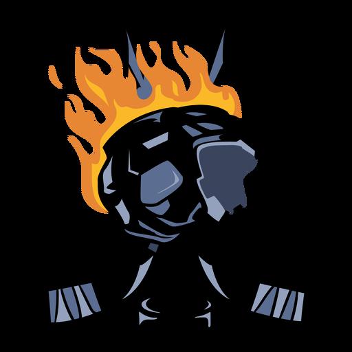 Ice hockey helmet and sticks on fire