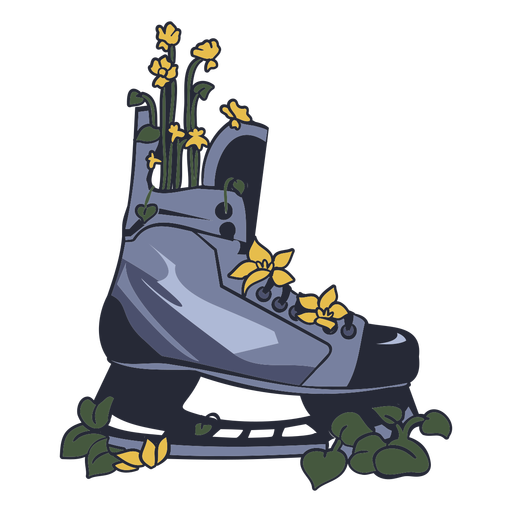 Ice hockey skate with flowers illustration