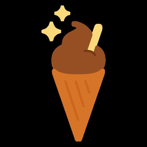 Sparkly ice cream cone flat