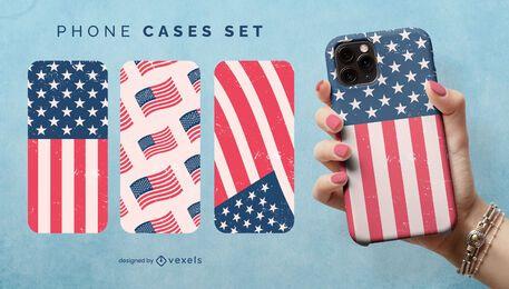 Conjunto de capa de telefone com bandeira dos EUA