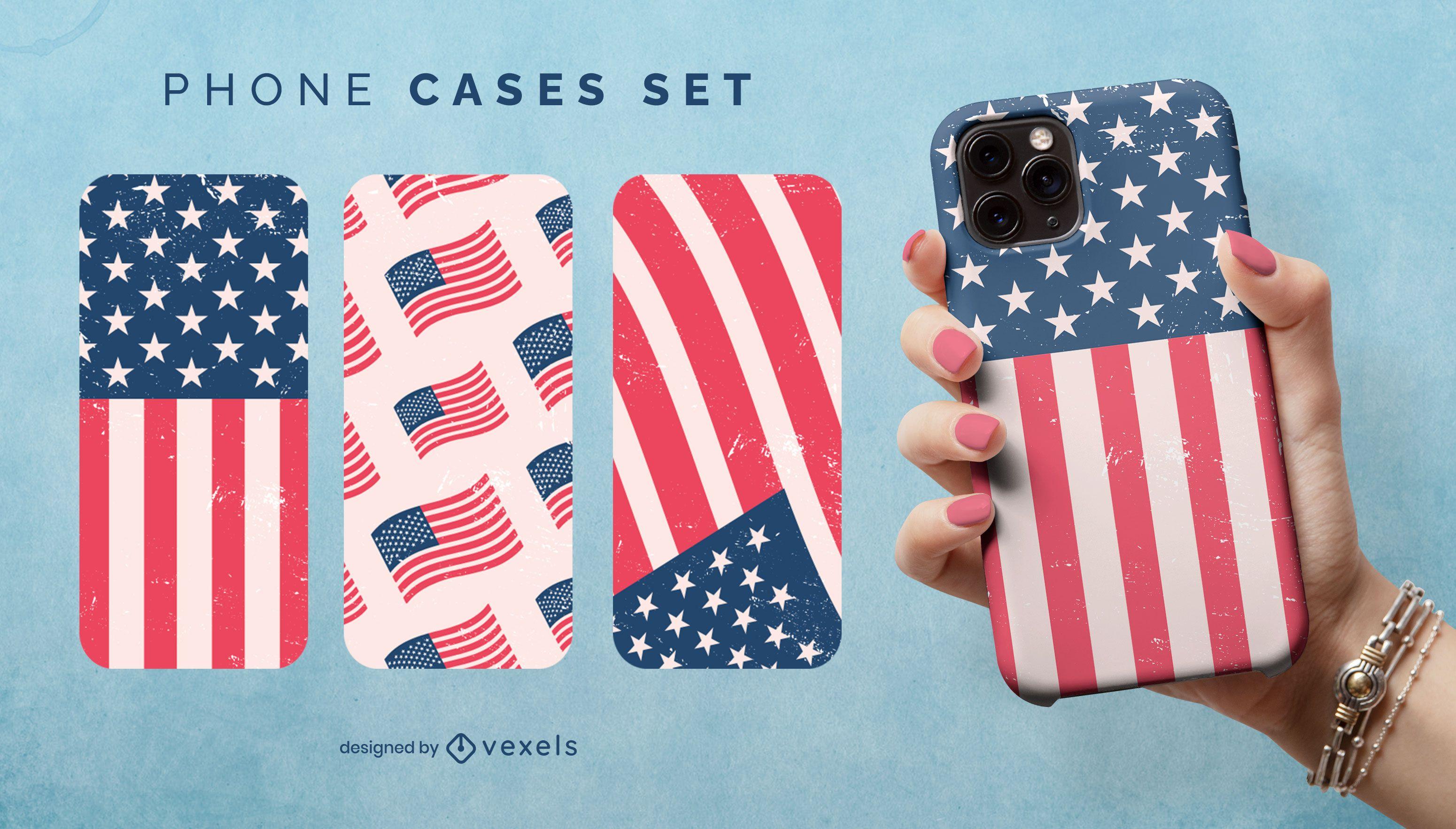 Conjunto de caja de teléfono con bandera de EE. UU.