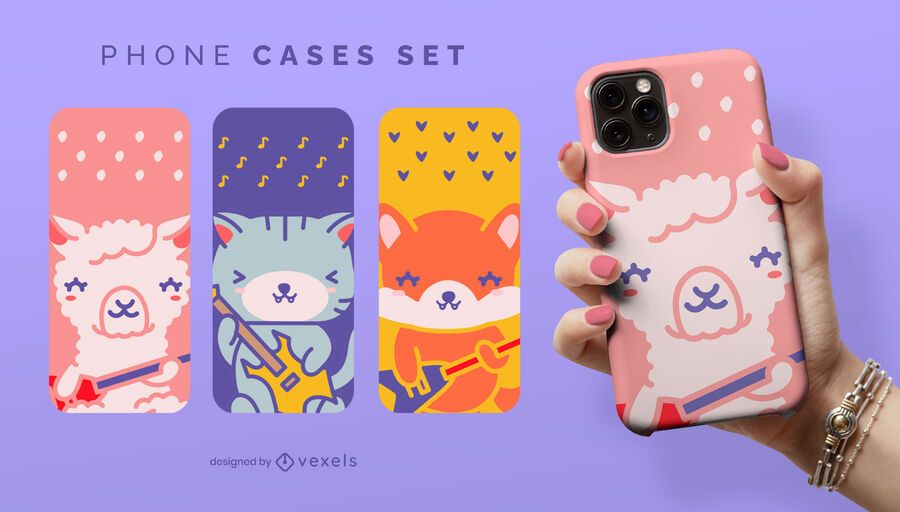 Guitarist animals phone case set