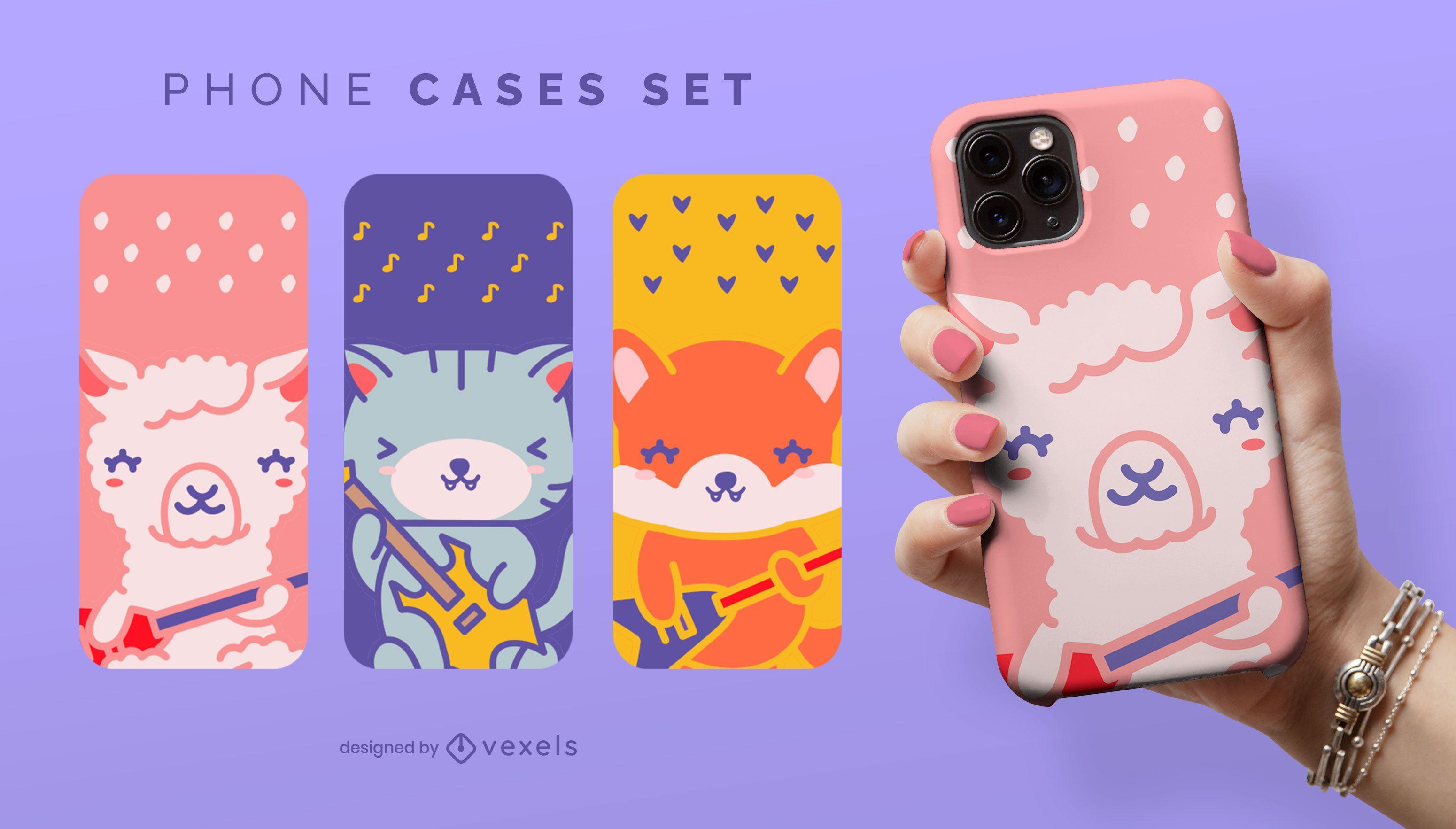 Guitarist animals phone case set