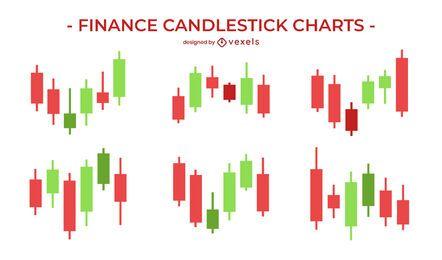 Conjunto de gráfico de velas de finanzas