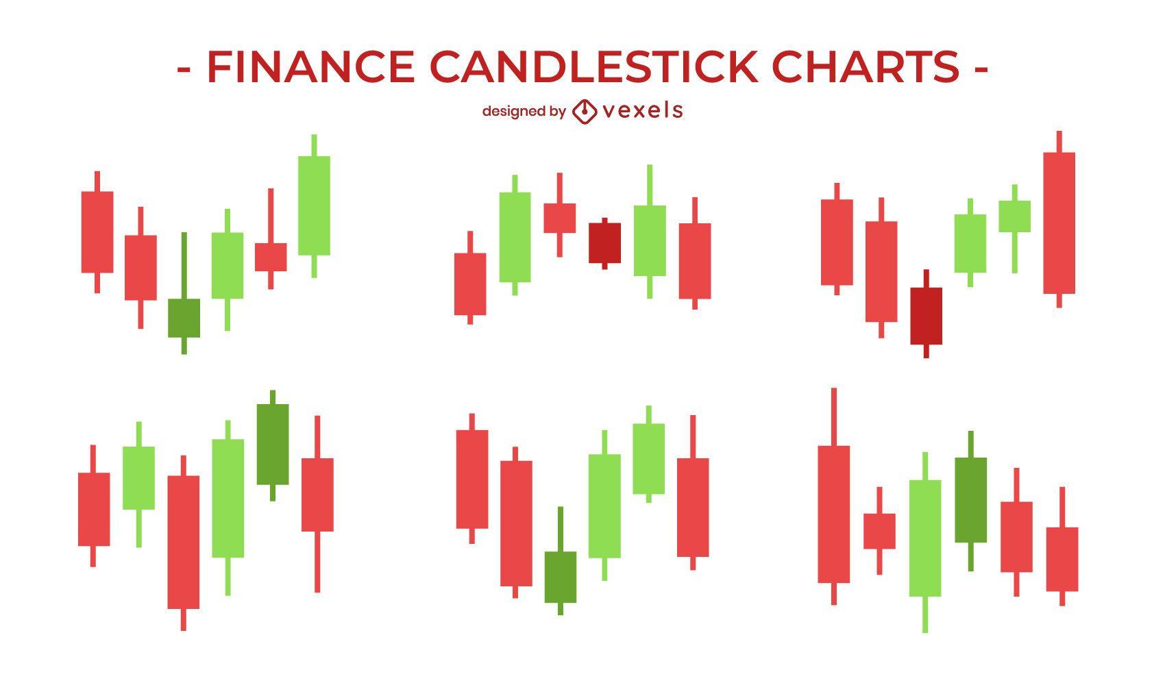 Conjunto de gráfico candlestick de finanças