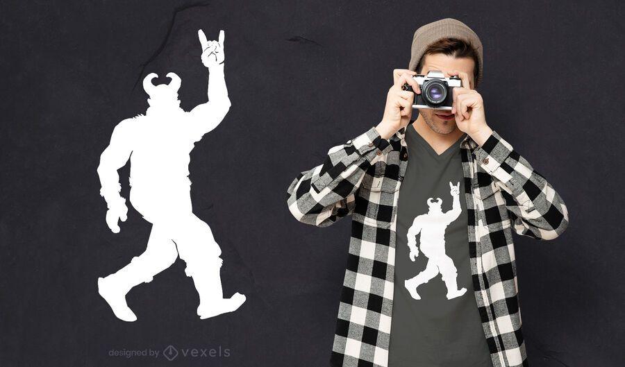 Viking silhouette rock n roll t-shirt design