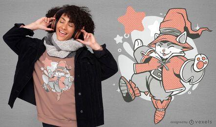 Diseño de camiseta de personaje de gato mago