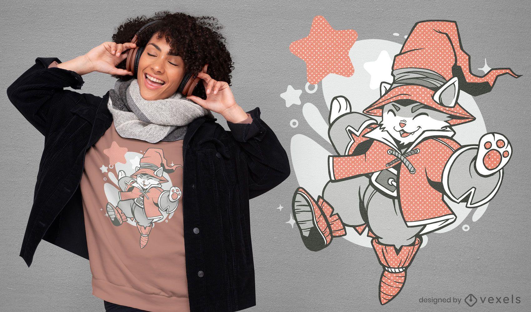 Design de t-shirt de personagem gato feiticeiro