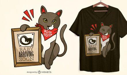 Bebê chegando em breve com design de t-shirt de gato