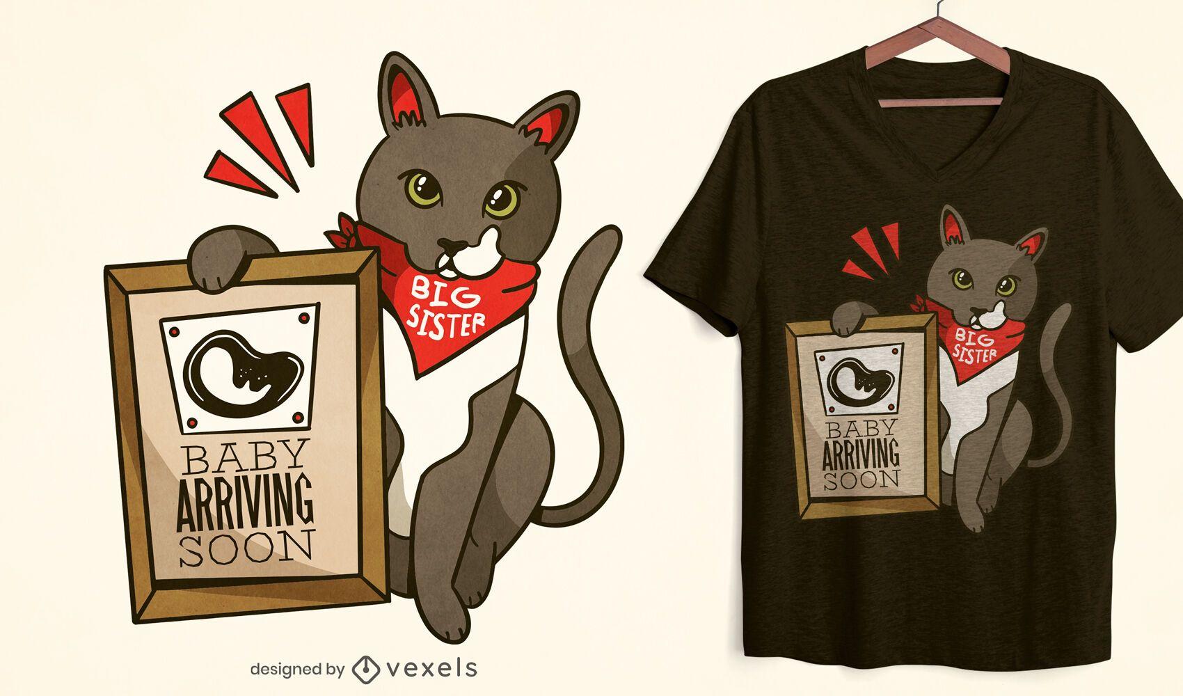 Baby arriving soon cat t-shirt design