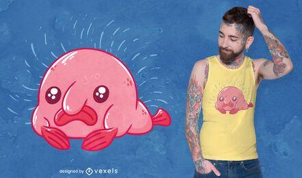 Desenho de t-shirt de desenho animado Blobfish