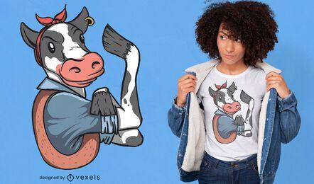 Diseño de camiseta de personaje de vaca flexionando bíceps