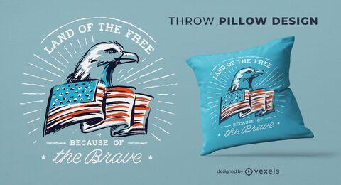 Diseño de almohada de tiro del día de la independencia