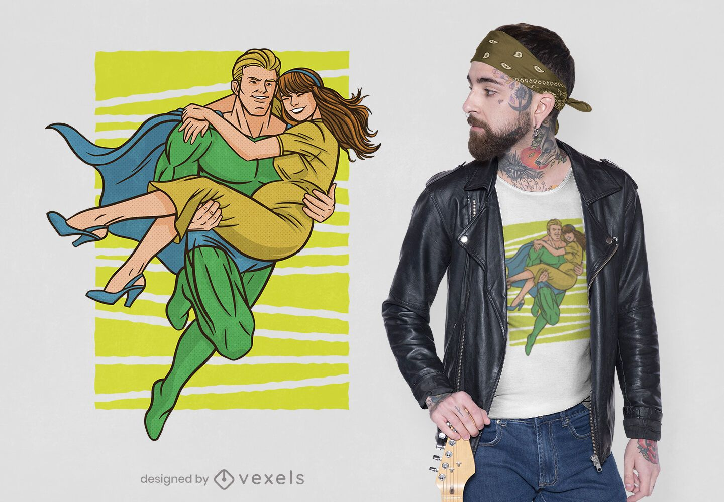 Superhero saving woman t-shirt design