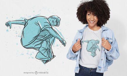 Diseño de camiseta de atleta parkour dibujado a mano