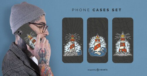 Vintage lighthouse phone case set