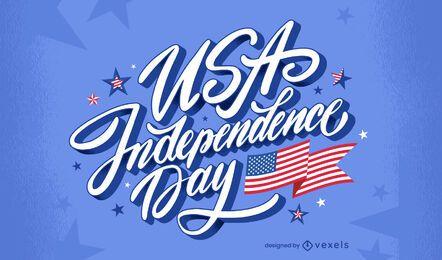 USA independence day celebration lettering