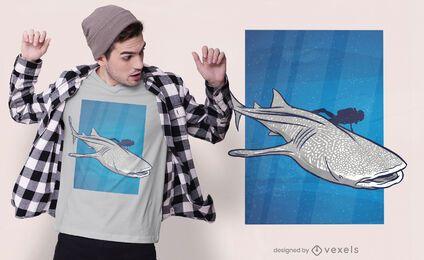 Design de t-shirt de natação de tubarão-baleia