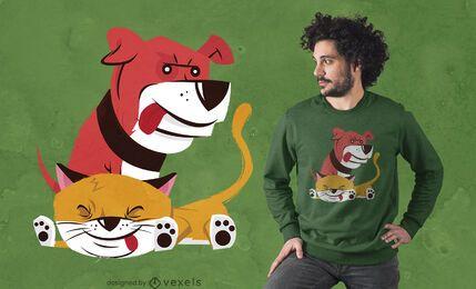 Diseño de camiseta de perro y gato tonto.