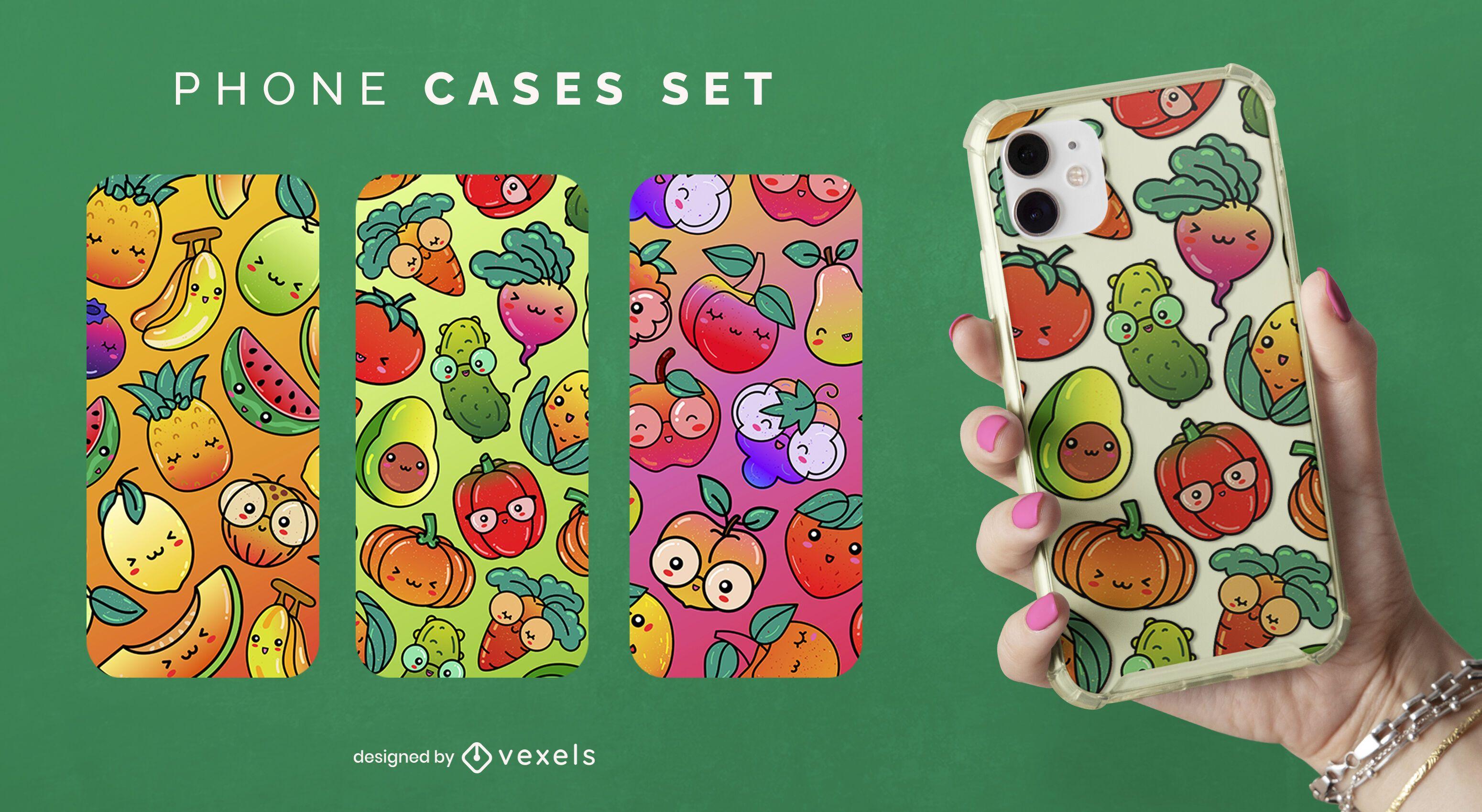 Kawaii food phone case set