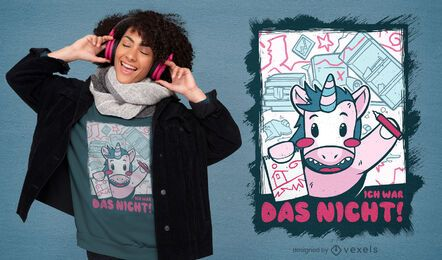 Einhorn Wachsmalstift Cartoon T-Shirt Design