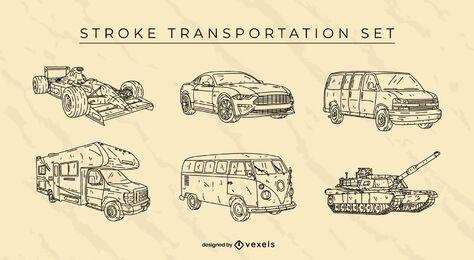 Conjunto de carros de transporte desenhados à mão